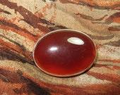 Red Orange Agate Oval Scotland Brooch Sterling Silver
