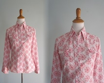 Vintage Pink Floral Western Snap Shirt - 70s Girly Western Shirt by Golden Spur - Vintage 1970s Shirt S M
