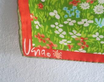 Gorgeous Vera Neumann Green Floral Silk Scarf - 60s Vera Silk Scarf - Vintage 1960s Scarf