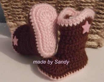 Baby Cowgirl Boots - newborn brown and pink - ready to ship
