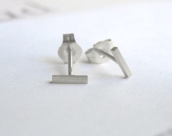 Sterling Silver Line Stud Earrings tiny t earrings Slim staple Silver Bar Studs 925 Silver Line Studs gold bar Stud Earrings 0203