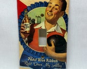 PBR Down My Alley-- Recycled Single Light Switch Plate Cover, Pabst Blue Ribbon Beer, Bowling, Americana, Red, Vintage, Seasonal