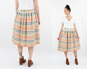 vintage 50s pale STRIPED wool HIGH waist skirt XS-S