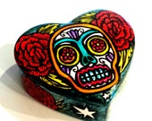 Sugar Skull Jewelry Box Ceramic Heart Box Painted Day of the Dead Tattoo  Roses Dia de Los Muertos - MADE  TO ORDER