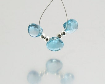 3 AAA London Blue Topaz Faceted Heart Briolettes,  7.5mm x 8mm - 8mm x 8.5mm, 7.4 cts Perfectly Transparent Light London Blue Topaz Hearts