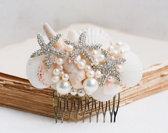 Bridal HAIR COMB Sea Shell Hair Accessory Beach Wedding White Shells Pearls Ocean Summer Resort Vacation