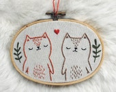 Valentines day cat lovers, wall hanging, embroidered ornament, cat ornament, best friend cat ornament, embroidered cat ornament, cat wall