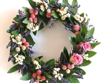 Mama's Summer Garden dried lavender and roses floral Wreath