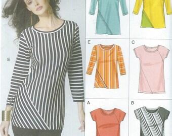 Vogue 8792  Misses' Seam-Detail Tops Size 6-14