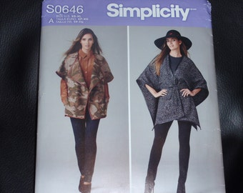 Simplicity 0646 Loose-Fitting Jackets in Two Lengths, Cape with Belt and Capelet Pattern  Size XS-XL