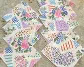 Vintage Napkins - Floral - Pink Purple Teal Spring Summer Napkins - Luncheon Lunch Afternoon Tea - Country Cottage Table Setting - 9 Total