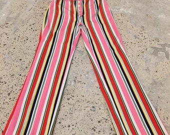 1970s High Waist Pants - High Waisted Pants - Stripes Striped Pant - Retro Hipster Pants - Colorful Circus Stripe Pants  - 27 Waist