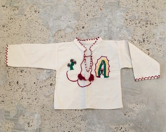 Kids Embroidered Shirt - Tunic Style - Dies y Seis Cinco de Mayo - Cactus - Virgen de Guadalupe - Mary - Mexican Top for Child - 26 Chest