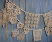 Vintage Doily Bunting. Wedding Bunting. A beautiful 3m strand made out of gorgeous square beige doilies.