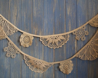 Vintage Doily Bunting. Wedding Bunting. A beautiful 3m strand made out of gorgeous beige doilies.