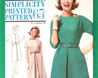 UNcut 1960s Misses' Dress Simplicity 5050 Printed Bust 34  kimono sleeves, flared skirt, inverted pleat, dart fitted Vintage Sewing Pattern