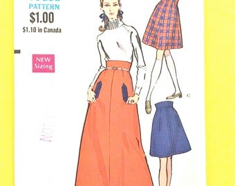 Uncut Vogue 7406  A-line skirt darted into wide waistband With or without buttonhole pockets Maxi Skirt Vintage Sewing Pattern Waist 24
