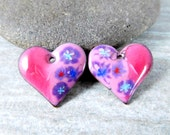 Pink Purple Heart Earring Charms, Floral Enamel Earring Pair, Enameled Copper Jewelry Components, Torch Fired, Boho, Summer, Romantic Pretty