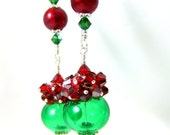 """RESERVED  Christmas Earrings, Christmas Ornament Earrings, Red Crystal Cluster Emerald Green Hollow Glass Earrings, 3"""" Long Dangle Holiday"""