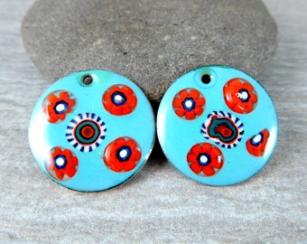 Seafoam Green Red Blue White Enamel Earring Pair, Circular Enameled Copper Earring Charms, Torch Fired, Murinni, Colorful, Boho Chic, 25 mm