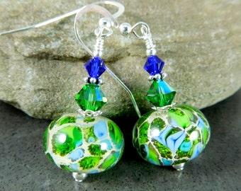 Organic Green & Aqua Blue Dangle Earrings, Bright Color Glass Earrings, Lampwork Earrings, Rustic Earthy Earrings, Fall Boho Chic Jewelry