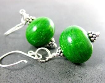 Sparkling Bright Green Hollow Glass Bead Earrings, Light Weight Blown Glass Earrings, Boho Dangle Earrings Lampwork Sterling Silver Earrings