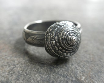 Seashell Ring Bohemian Jewelry Silver Snail Shell Organic Sea Life