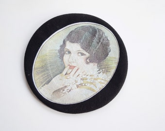 Black Wool Beret with Flapper Girl Image