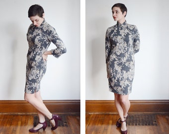50s/60s Floral and Paisley Grey Cheongsam - S