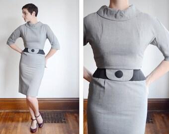 1950s Grey Wiggle Dress - XS/S