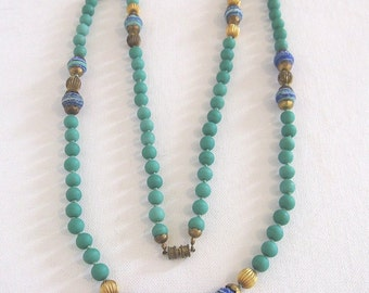 "Vintage Glass Bead Necklace Turquoise and Blue 41"" Length"