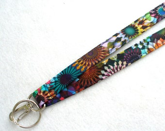 Crystalia Digital Spectrum Print Breakaway Clip Lanyard ID Badge Holder Break Away Lanyard Key Ring Fob Fabric Colorful Kaleidoscope MTO