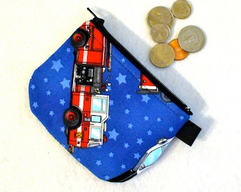 Fire Truck Ambulance Mini Coin Purse Little Zipper Change Purse Handmade Mini Coin Purse Firetruck Fire Engine Helicopter Rescue Heroes MTO