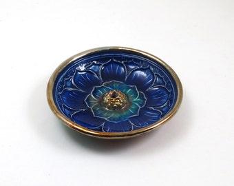 Lotus Incense Burner Handmade Ceramic Pottery RAKU