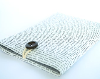 iPhone 6s, iPhone 6s Plus Case, iPhone Case, Fabric Phone Pouch with Wooden Button Closure - Words