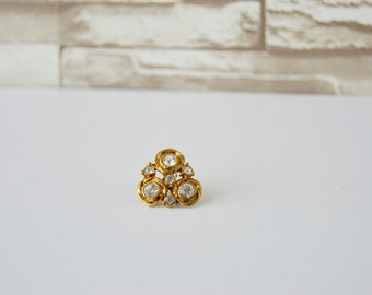 REDUCED! Antique Gold Toned Metal Triangular Rhinestone Shank Button - 3/4 inch