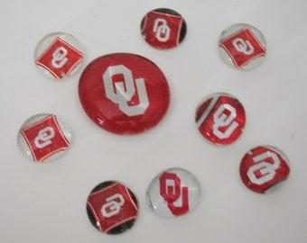 University of Oklahoma magnet or push pin set - made from recycled magazines, stocking stuffer, hostess gift, graduation