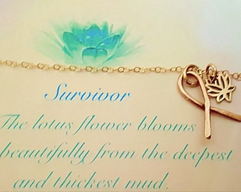 Survivor hope ribbon jewelry, Lotus flower, 14K gold necklace,bronze gifts  cancer awareness,strength,meaningful, inspirational symbolic