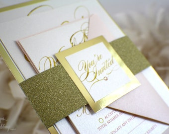 Glam and Elegant Wedding Invitation | Glitz | Glitter | Fabulous | Gorgeous | Modern | Crystals | Gold | Peach | Please read instructions