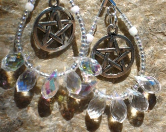 Clear Rainbow Crystal and White Glass Pagan Wedding/Handfasting Earrings