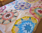 Cotton quilt top, Rolling Star, unfinished quilt. colourful patchwork top, homemade quilt top