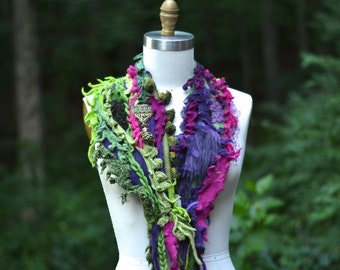 Cashmere green purple SCARF Wrap with pompons, tassels and beads. Woodland Fantasy luxury couture
