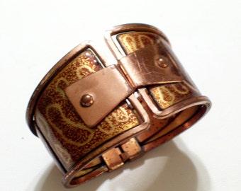 Matisse Bracelet, Rare Vintage MATISSE Copper Enamel Bracelet, Modernist Hinged Bangle Bracelet, Copper Clamper Bracelet, The Copper Cat