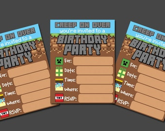 Printable DIY Boys Birthday Invitation Fill in the Blank creep on over Birthday Party Video game Minecraft Inspired Birthday Invite Theme