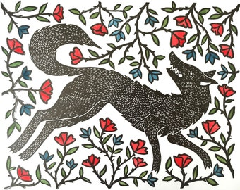 Wolf in the Brambles | Handpainted Relief Print