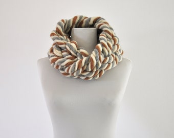 NEW! Super Chunky Yarn Infinity Scarf, Cowl, Snood, Big Yarn Scarf, Huge, Thick, Earth Colors