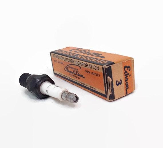 Vintage Spark Plug - Edison #3 - Car Auto Part - Man Cave - Gift for Him