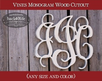 Vines Wood Monogram Initials cutout - wedding photo prop vintage shabby chic cottage decor DIY wooden cut out scrollwork