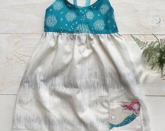 Girl's Dress - Strappy Dress with Mermaid pocket - Quality Handmade Girl's Dress