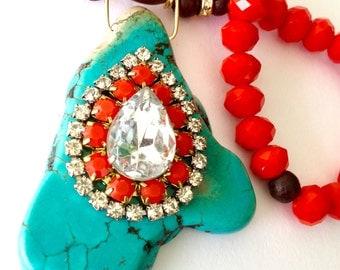 Chunky Turquoise slab Necklace, Large Turquoise slab and swarovski rhinestones, neon orange and shiny crystals